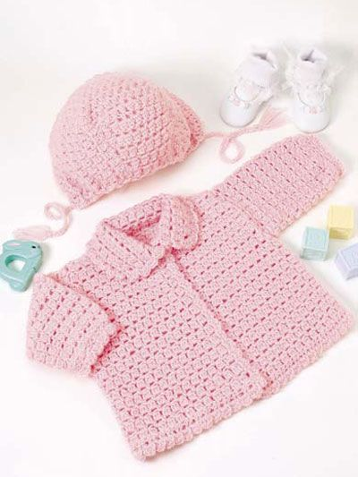 The little girls in your family will look oh-so-cute dressed in this adorable pink sweater and hat. Fits child sizes: Instructions given fit 17 to 18 inch chest (6-12 mos) Skill level: Intermediate