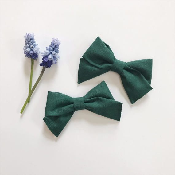 Mini School Girl Bow Emerald with Nylon Band or Hair Clip, nylon bow headbands, nylon baby headbands, hair bows, preemie headband, petite bows, pigtail bows, pigtails, pigtail set, Etsy store