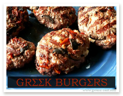 Greek Burger Recipe-s. Sundried tomatoes, feta, olives... oh my!