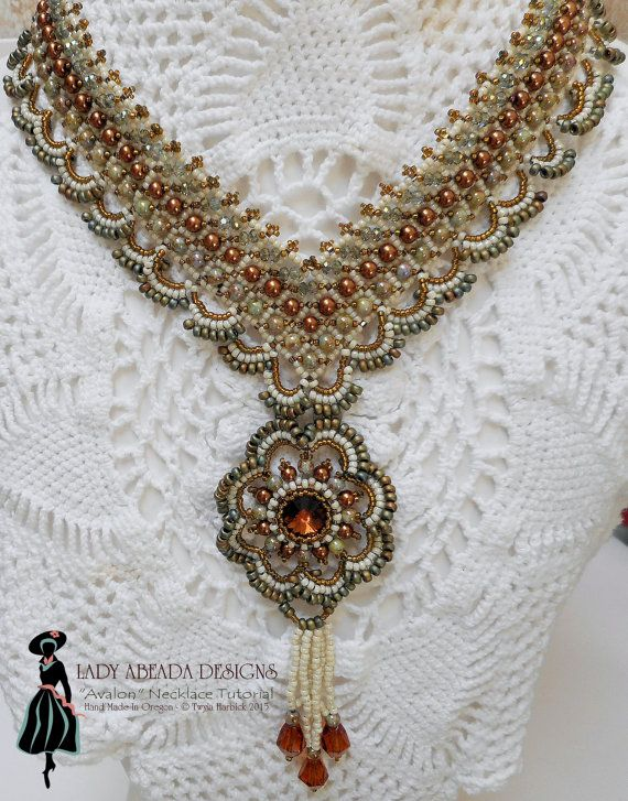 Beading Tutorial Instructions - Bead weaving Pattern Avalon Pendant Necklace PDF Format INSTANT DOWNLOAD $12.50 for pattern