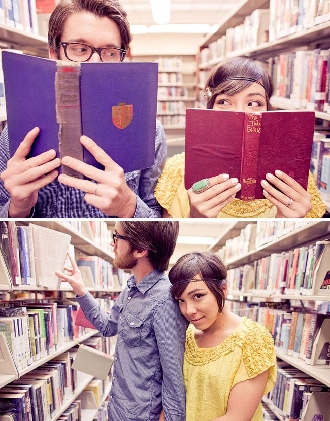 engagement photos in the library!