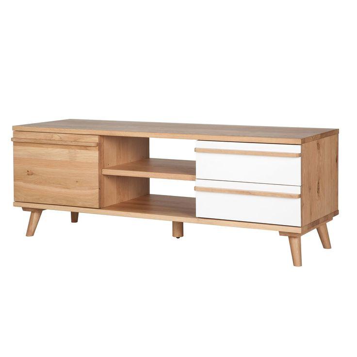 Meuble TV 1 porte et 2 tiroirs chêne et formica Naturel - Skandy - Les meubles télé - Les meubles et accessoires tv - Salon et salle à manger - Décoration d'intérieur - Alinéa