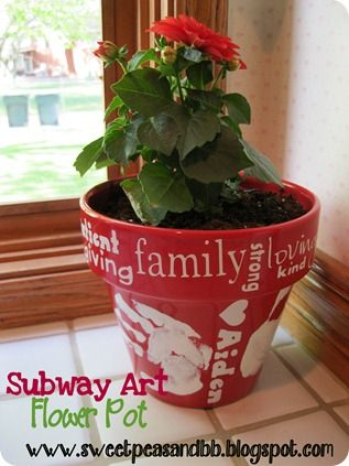 flower pot craft idea--maybe for Grandmas on Mothers Day, put boys' names and handprints and Happy Mother's Day 2012