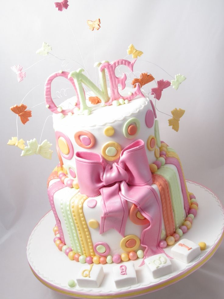 birthday cake for girls first pastel colours 1st. Black Bedroom Furniture Sets. Home Design Ideas