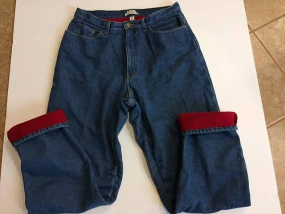 L.L. Bean flannel lined jeans size 14 tall  vintage tall jeans