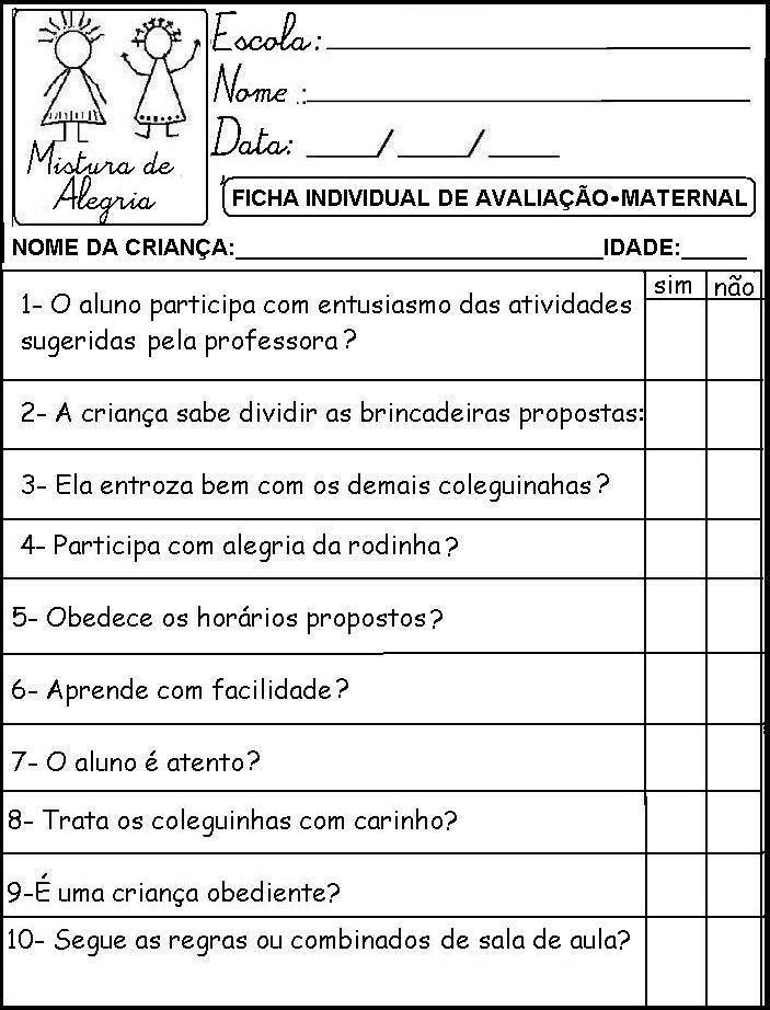 Ficha Individual Para Maternal Com Imagens Relatorios Educacao