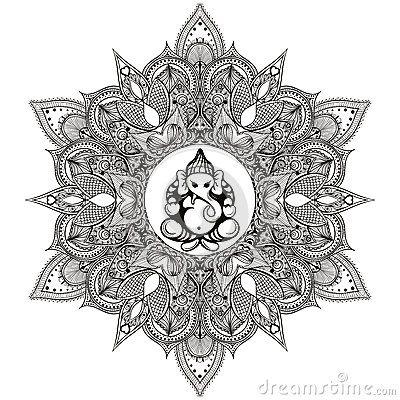Мандала Zentangle стилизованная круглая индийская с индусским богом слона