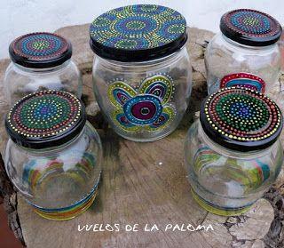 vuelos de la paloma: frascos pintados a mano