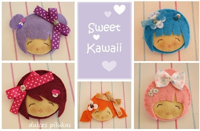 Broches fieltro. Caritas Pilukas Sweet Kawaii
