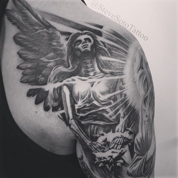 Started this dark angel tattoo part of a religious death for Angel of death tattoo