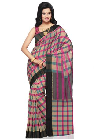 Beige, Fuchsia and Teal Blue Art Silk Saree with Blouse