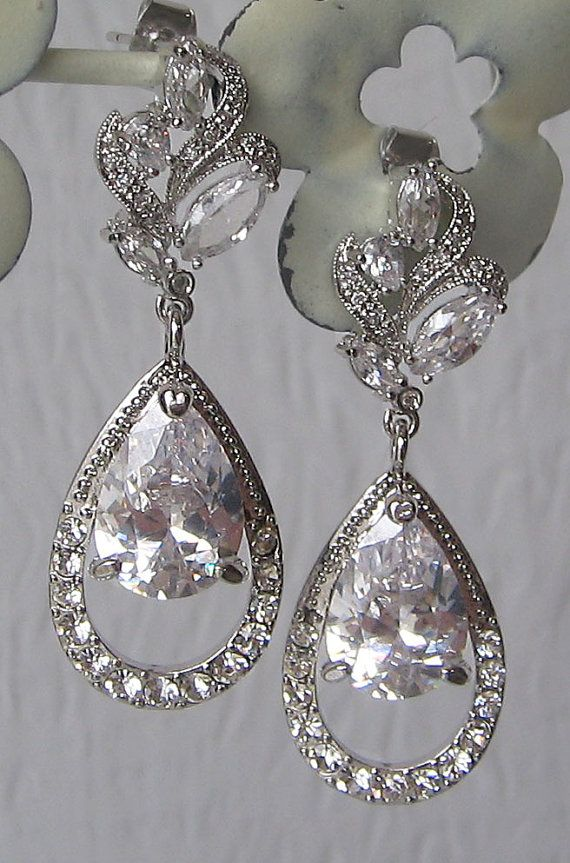 Stunning Rhinestone Chandelier Earrings, Swarovski Crystal Bridal Earrings, Rhinestone Earrings, Vintage Style - ANASTASIA
