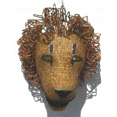 Wire beaded beautifully crafted lion head wall hanging – handmade in Africa