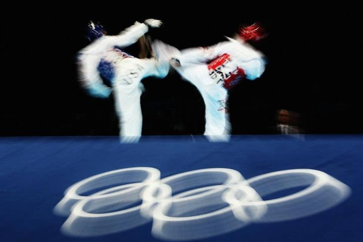 LONDON - AUGUST 10: Sarah Stevenson of Great Britain competes against Paige Mcpherson of The United States of America during the Women's -67kg Taekwondo Preliminary Round on Day 14 of the London 2012 Olympic Games at ExCeL on August 10, 2012 in London, England. (Photo by Hannah Johnston/Getty Images) 2012 Getty Images