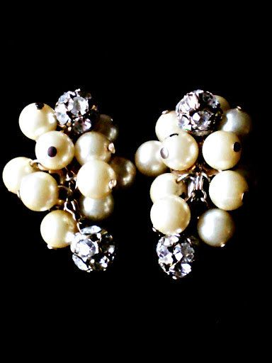 Vintage 40s Pearl and Rhinestone Earrings by MsMaude on Etsy