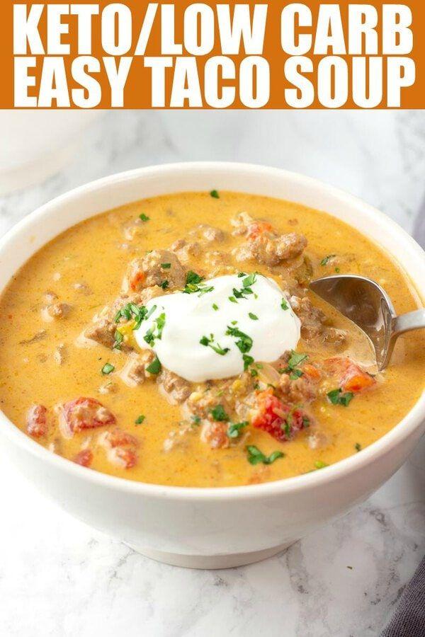 Keto Taco Soup Keto Diet Corner Low Calorie Soup Soup Recipes Keto Recipes Easy