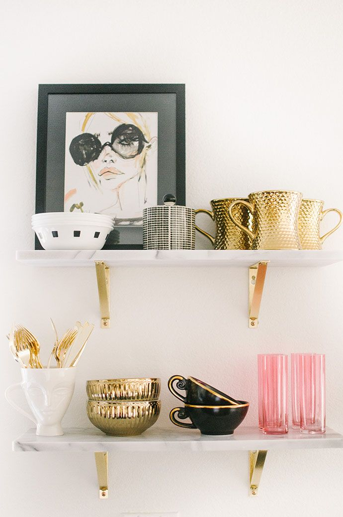 kitchen shelfie: black, white, pink and gold