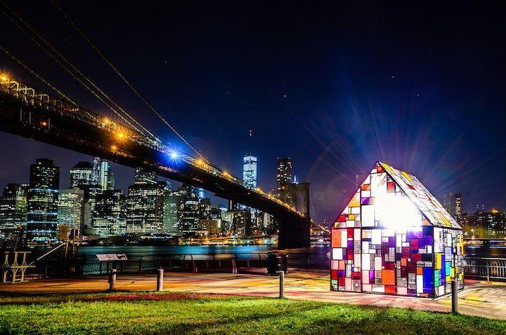 'Kolonihavehus', A Multi-Colored Plexiglass Sculpture of a House on Display in Brooklyn