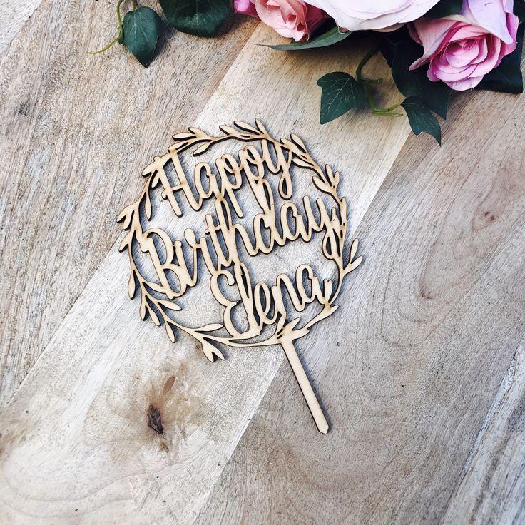 Happy Birthday Wreath Cake Topper Personalised Boho cake topper wreath cake topper Topper wreath cake birthday Cake Topper happy birthday