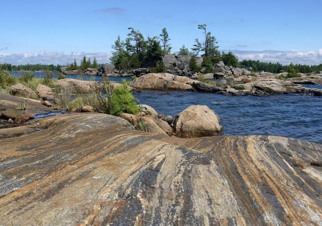 Beautiful Canadian Shield rocks on Georgian Bay