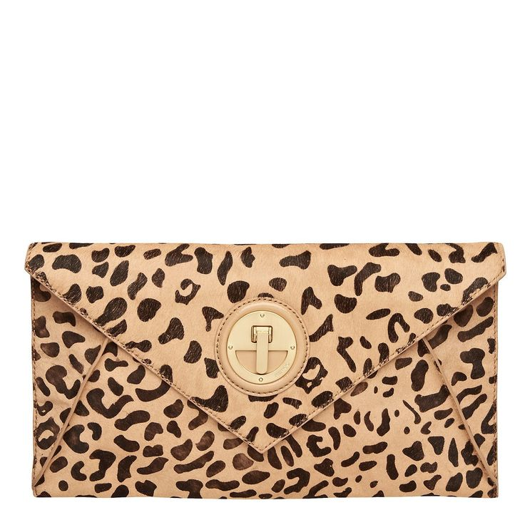 Our Molten Envelope Clutch swathed in a soft leopard print palette is sure to create a touch of animalistic envy.