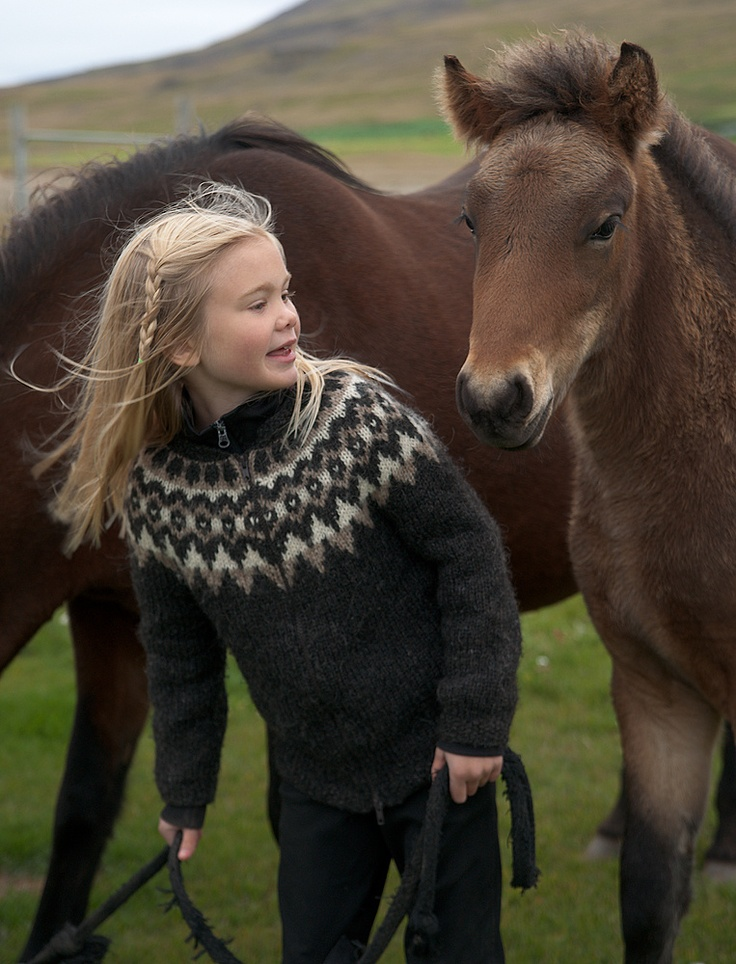 Icelandic Girl with her Horses