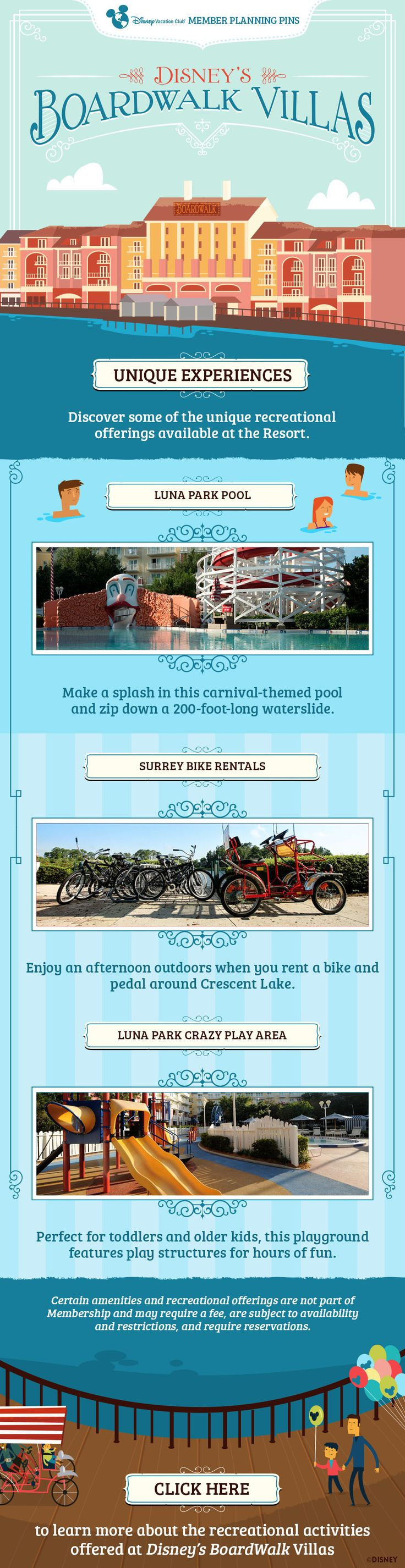 Plan your next Disney Vacation Club vacation to the BoardWalk Villas with our helpful Member Planning Pin showing what unique experiences are available at this Resort. Click to learn more.
