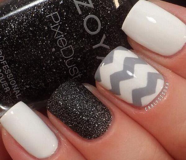 Black white gray chevron