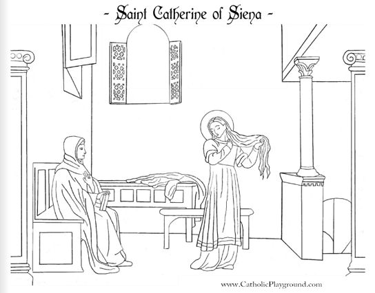 Coloring page for April 25th: Saint Catherine of Siena - Catholic Playground