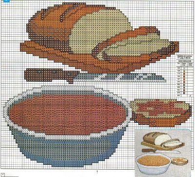 Fabinha Gráficos Para Bordados: Pão, Trigo, Uva e Vinho