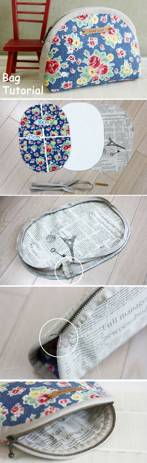Zippered Cosmetic Bag. DIY Pattern & Tutorial in Pictures.   http://www.handmadiya.com/2015/11/makeup-bag-tutorial.html