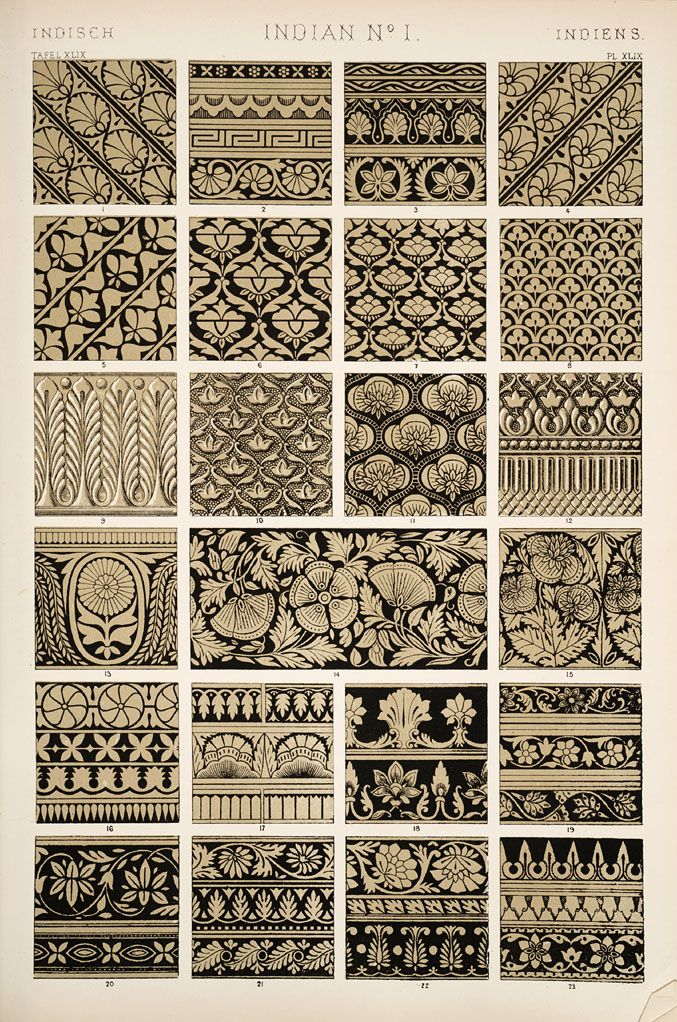 Indian ornament - from The Grammar of Ornament (pub.1910), Owen Jones (1809-1874)   . . . .   ღTrish W ~ https://www.pinterest.com/trishw/doodles/ . . . .  #doodle #pattern