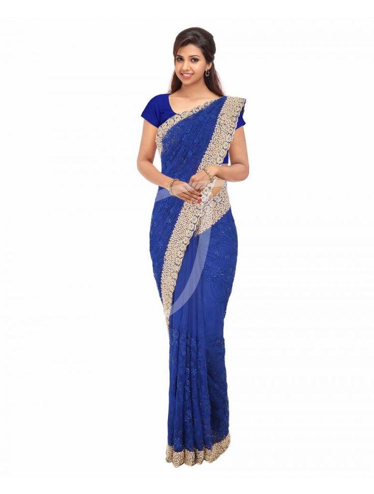 Net Dark Royal Blue Colour Fancy Saree - JCS1924