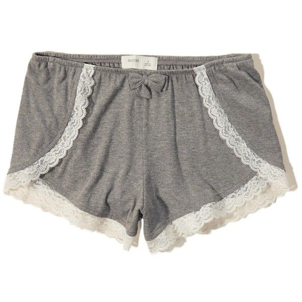 Hollister Lace-Trim Sleep Short ($20) ❤ liked on Polyvore featuring intimates, sleepwear, pajamas, grey, short sleepwear, short pyjamas and short pajamas