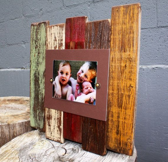 "Large Reclaimed Wood frame, ""Sedona Sage Fire"", 5 x 7, Mother's Day Gift…"