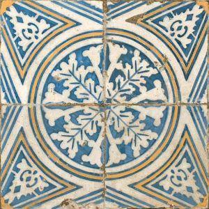 carrelage imitation carreau ancien bleu et jaune 45x45 cm - 27,90 €