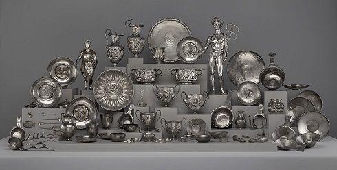 Spectacular roman hoard discovered around 1830 in northern France. trésor de Berthouville. Cabinet des médailles BNF