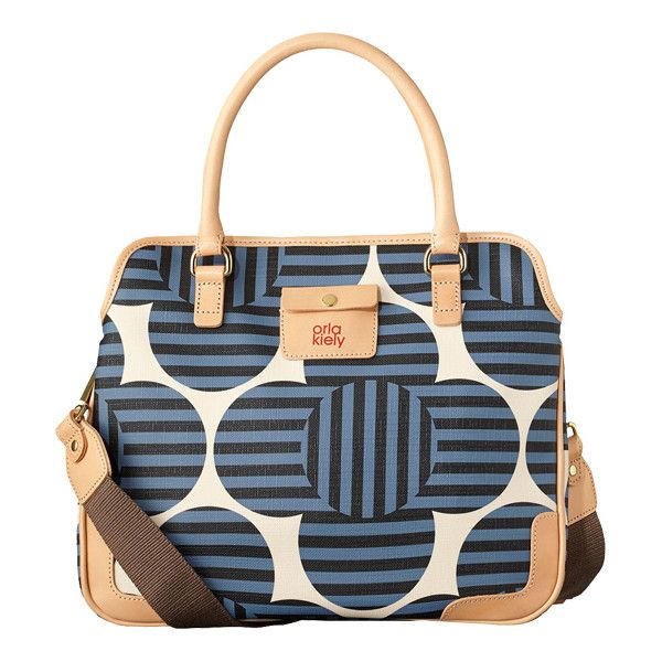 Orla Kiely Optical Flower Small Jeanie Bag in Whale ($246) ❤ liked on Polyvore featuring bags, handbags, shoulder bags, whale, hand bags, flower handbags, purse shoulder bag, vinyl purse and handbags shoulder bags
