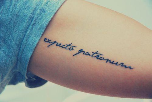 Cool Minimalist Harry Potter Spell Expecto Patronum Tattoo on Inner Upper Arm