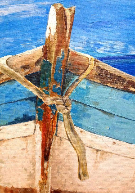 BATEAU SUR LA PLAGE  Peinture acrylique originale par Vladimir Nezdiymynoga    * Taille: 60/40 cm - 23,5/16»  * Année de travail: 2015 si vous êtes intéressé par d'autres dimensions de la toile, s'il vous plaît contactez-nous.  * Couleurs dominantes: bleu, jaune, marron, blanc.   * Sur la face avant de l'image - signature de l'auteur et la date.  * Toile tendue sur cadre en bois et prêt à accrocher au mur. Les bords de la toile sont peints.   Sil vous plaît noter que les couleurs de…