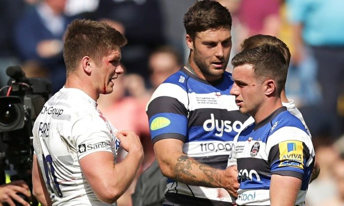 Owen Farrell of Saracens and George Ford of Bath together at the end of Premiership play-off final