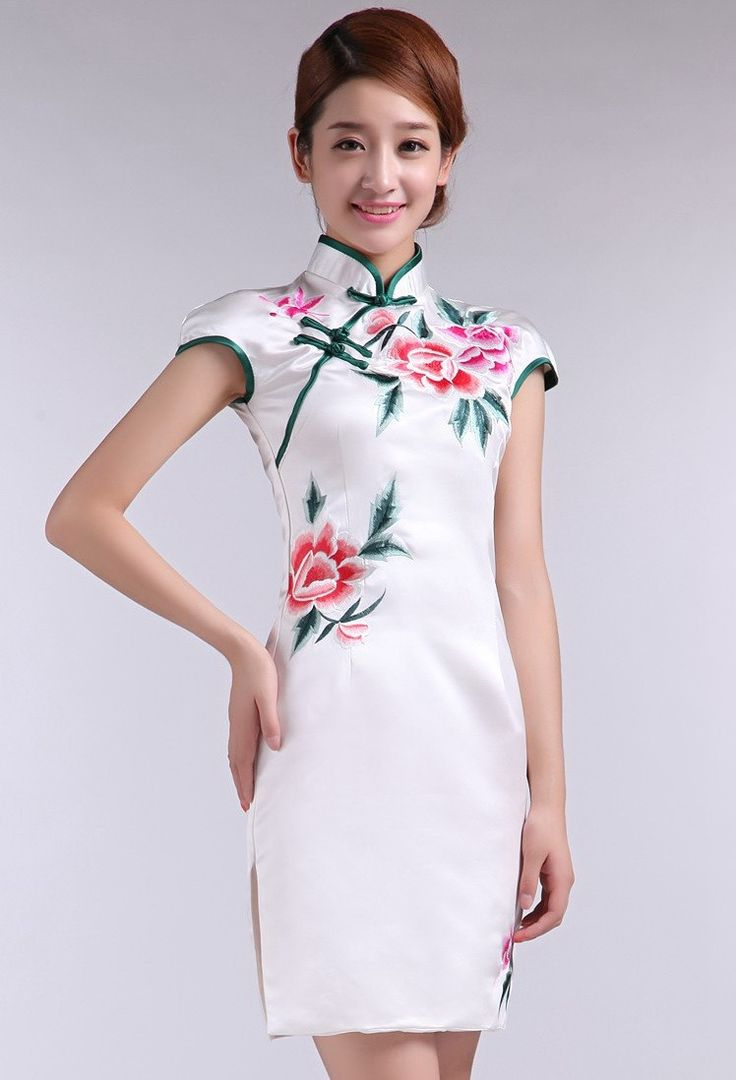 White Silk Floral Embroidery Mini Cheongsam Qipao Dress - iDreamMart.com