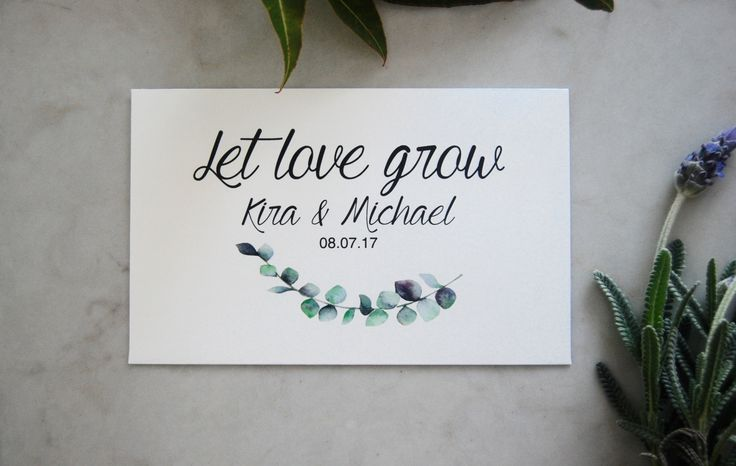 Personalised Wedding Seed Favours. Give your guests a lasting reminder of your love. Envelopes come custom printed with your details, sealed with wildflower seeds already inside. All that's left to do is gift them to your guests! A thoughtful, cost effective and easy wedding favour! Personalized wedding envelopes.