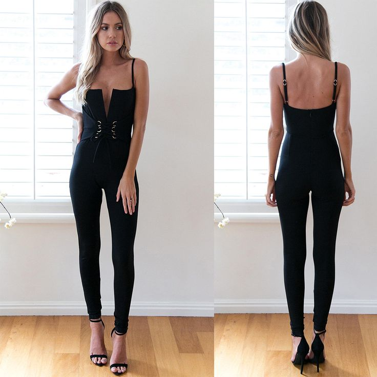 Charlee Cooper Black Lace Up Corset Front Plunge Neck Fitted Jumpsuit