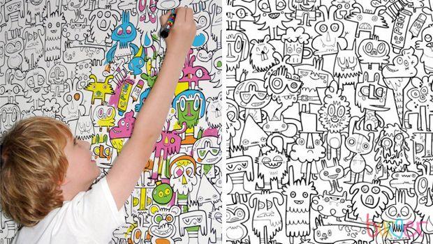 Papel Pintado Burgerdoodles Para Colorear Decoración Infantil
