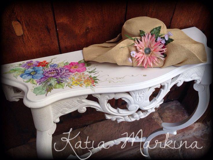 Un favorito personal de mi tienda de Etsy https://www.etsy.com/es/listing/245438166/aparador-blanco-floral-antiguo-pintado-a