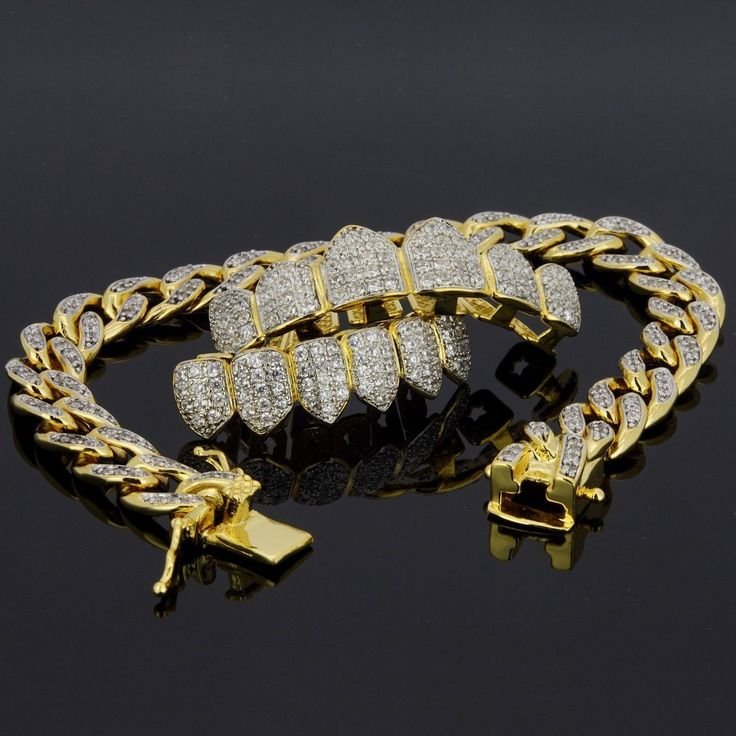 18K Gold & Silver Plated High Quality CZ Top & Bottom GRILLZ w/ Cuban Bracelet