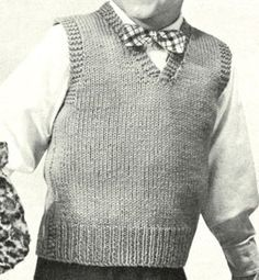 Boy's Sleeveless Pullover knit pattern from Speedknits for Children, originally published by Patons & Baldwins, Book 71.