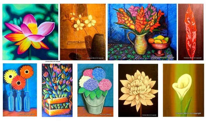 Mixed floralpaintings