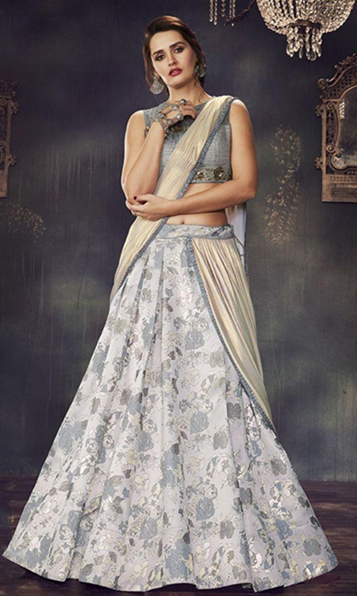 #Gray and #OffWhite Designer Wear #LehengaSaree